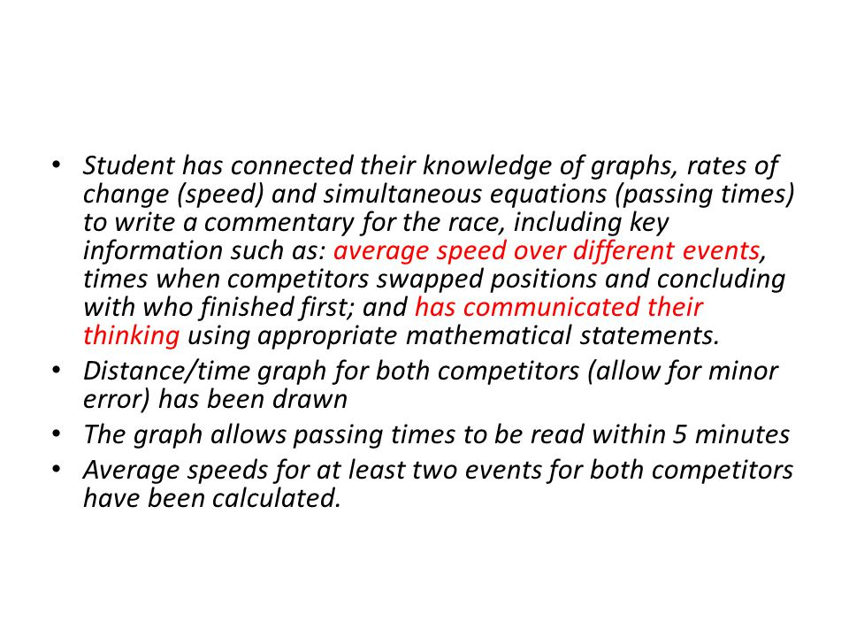 Student has connected their knowledge of graphs, rates of change (speed) and simultaneous equations (passing times) to write a commentary for the race, including key information such as: average speed over different events, times when competitors swapped positions and concluding with who finished first; and has communicated their thinking using appropriate mathematical statements.