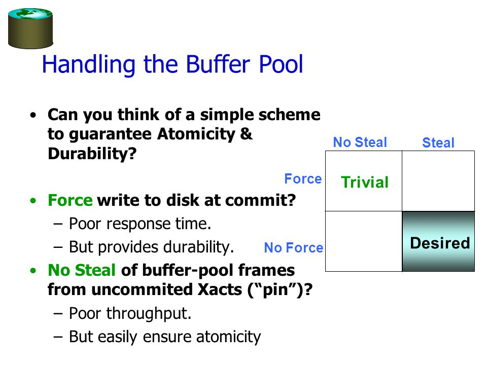 Handling the Buffer Pool Can you think of a simple scheme to guarantee Atomicity & Durability.
