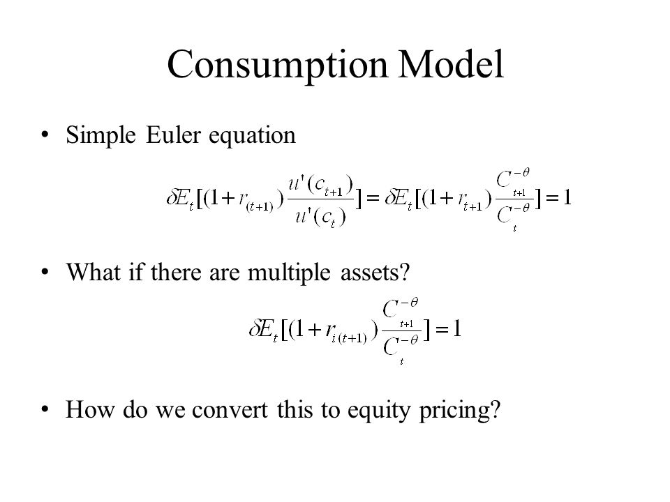 Consumption Model Simple Euler equation What if there are multiple assets.
