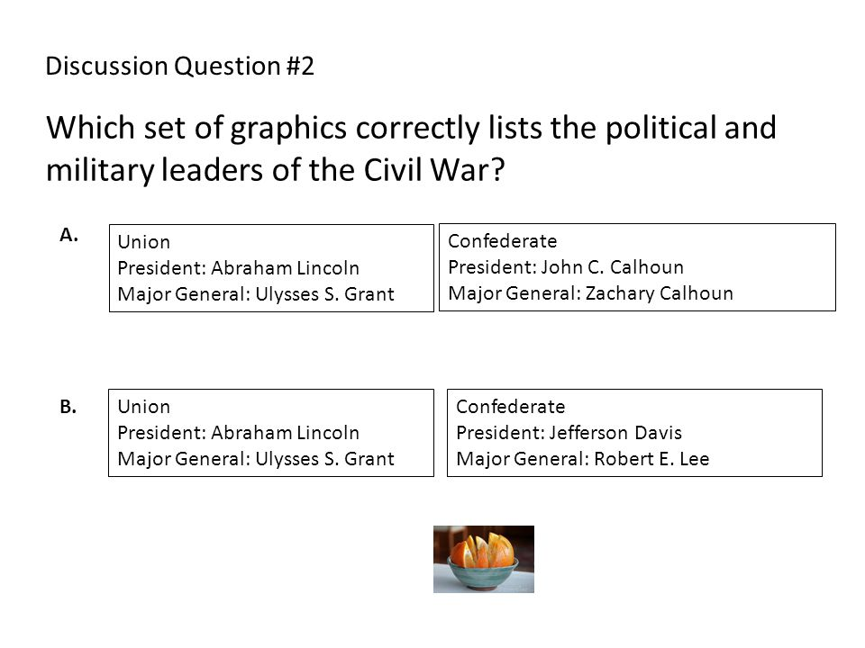 Which set of graphics correctly lists the political and military leaders of the Civil War? Discussion Question #2 Union President: Abraham Lincoln Maj