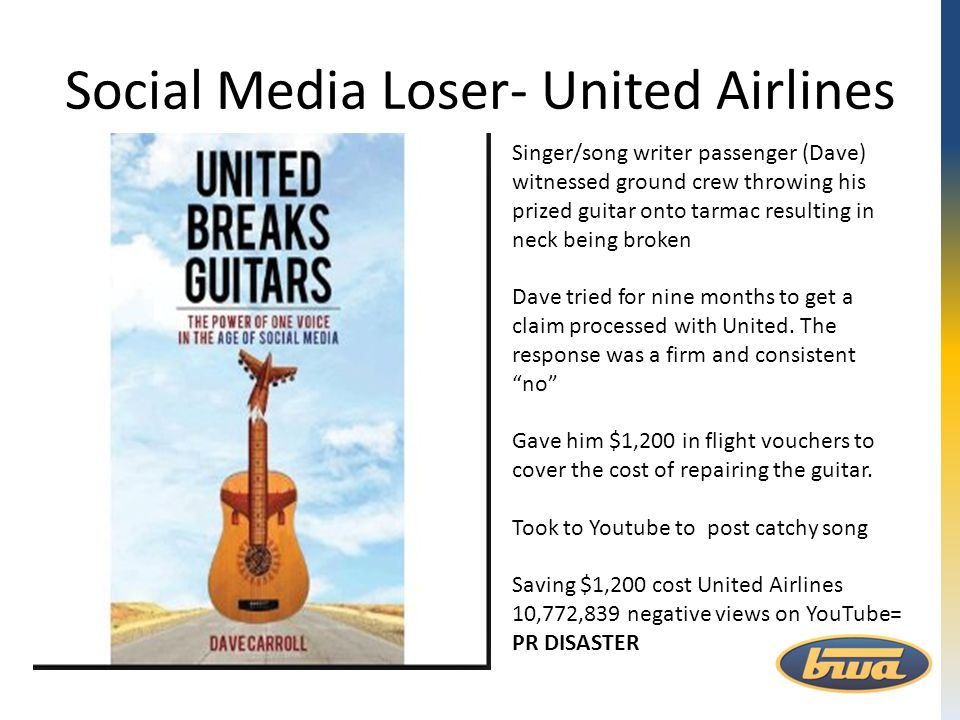 Social Media Loser- United Airlines Singer/song writer passenger (Dave) witnessed ground crew throwing his prized guitar onto tarmac resulting in neck
