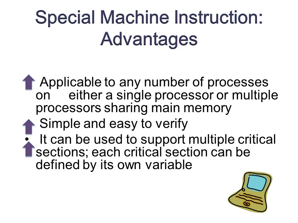 Applicable to any number of processes on either a single processor or multiple processors sharing main memory Simple and easy to verify It can be used