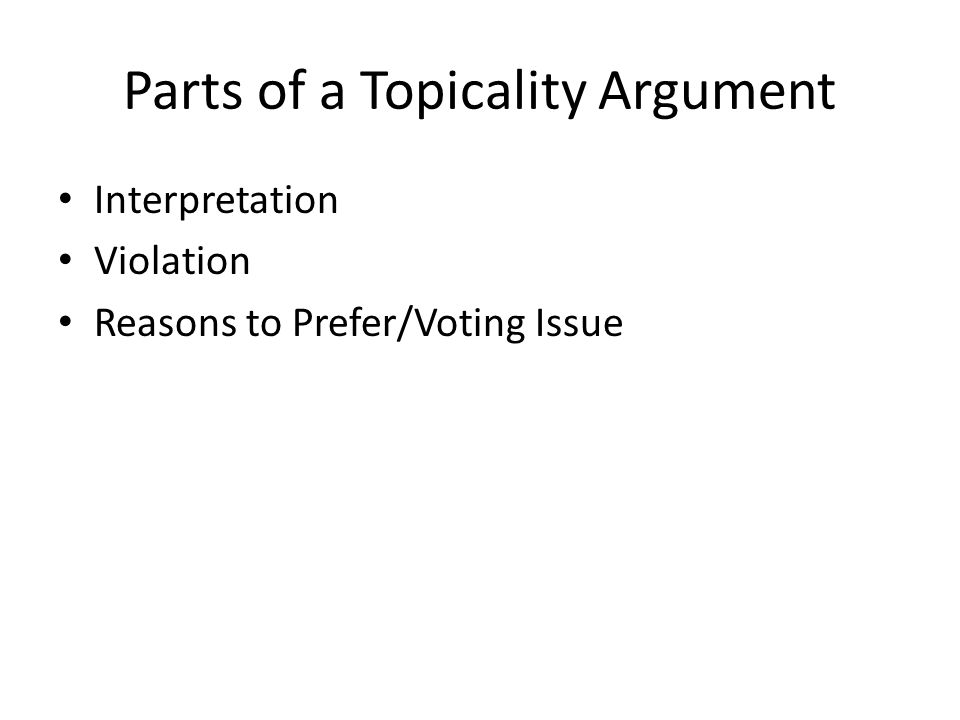 Parts of a Topicality Argument Interpretation Violation Reasons to Prefer/Voting Issue