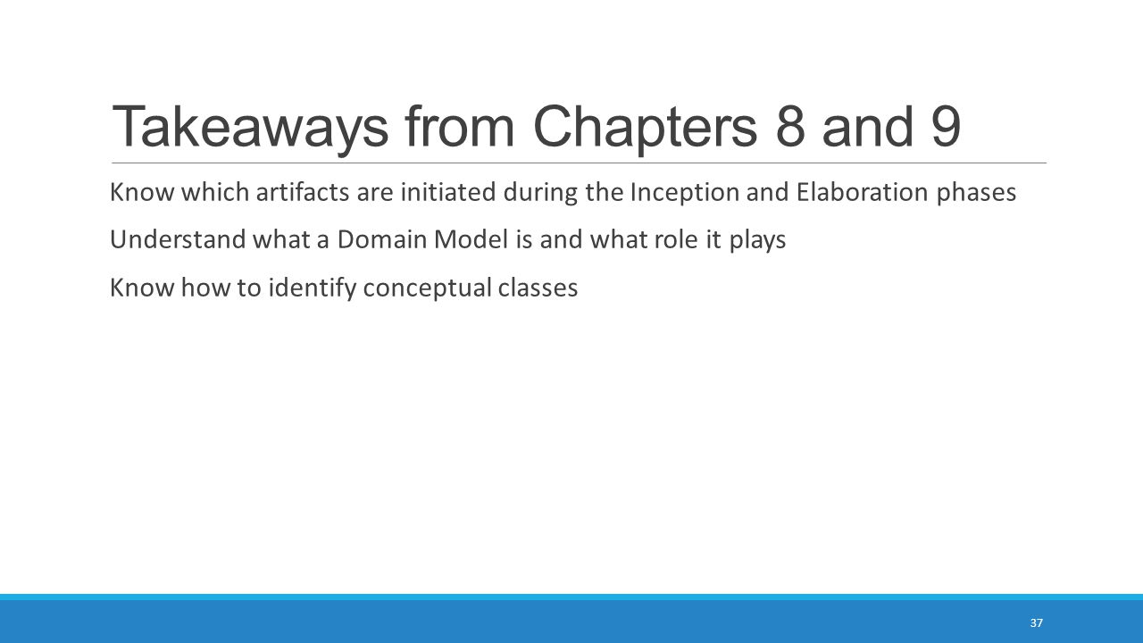 Takeaways from Chapters 8 and 9 Know which artifacts are initiated during the Inception and Elaboration phases Understand what a Domain Model is and w