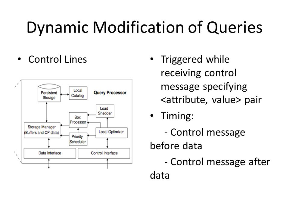 Dynamic Modification of Queries Control Lines Triggered while receiving control message specifying pair Timing: - Control message before data - Control message after data