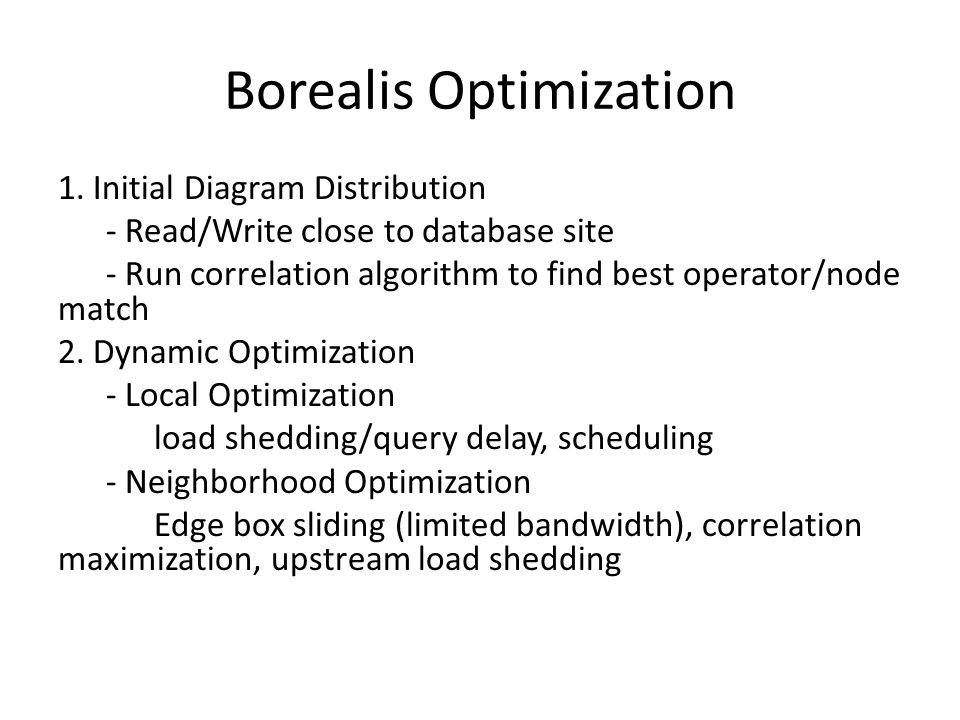 1. Initial Diagram Distribution - Read/Write close to database site - Run correlation algorithm to find best operator/node match 2. Dynamic Optimizati