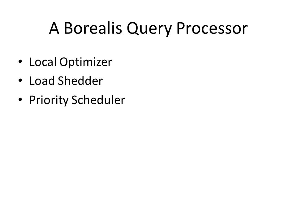 A Borealis Query Processor Local Optimizer Load Shedder Priority Scheduler