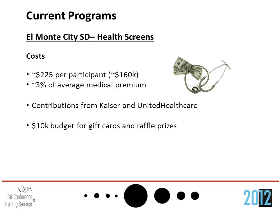 Current Programs El Monte City SD– Health Screens Costs ~$225 per participant (~$160k) ~3% of average medical premium Contributions from Kaiser and Un