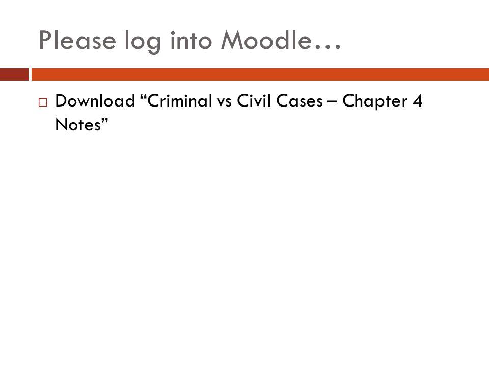 Please log into Moodle…  Download Criminal vs Civil Cases – Chapter 4 Notes