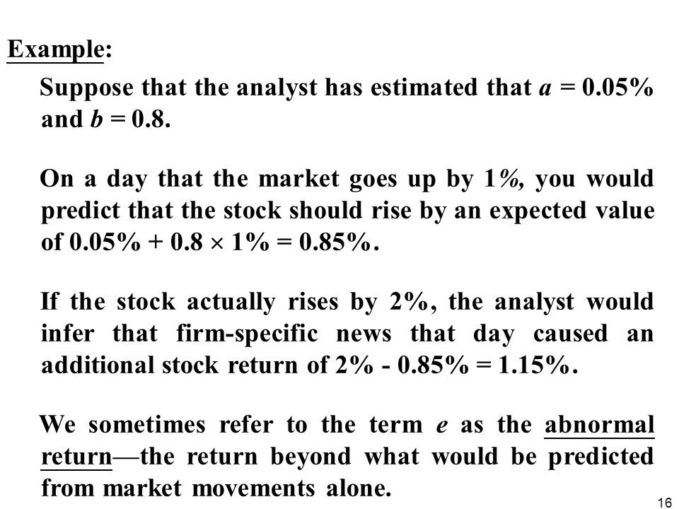 16 Example: Suppose that the analyst has estimated that a = 0.05% and b = 0.8.