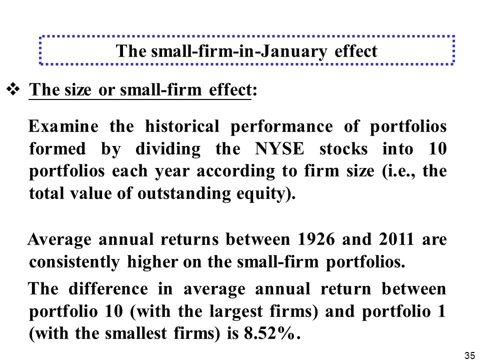 35  The size or small-firm effect: Examine the historical performance of portfolios formed by dividing the NYSE stocks into 10 portfolios each year according to firm size (i.e., the total value of outstanding equity).