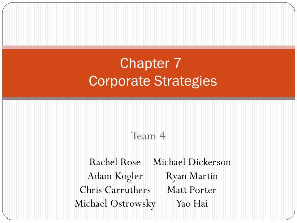 Team 4 Chapter 7 Corporate Strategies Rachel Rose Adam Kogler Chris Carruthers Michael Ostrowsky Michael Dickerson Ryan Martin Matt Porter Yao Hai