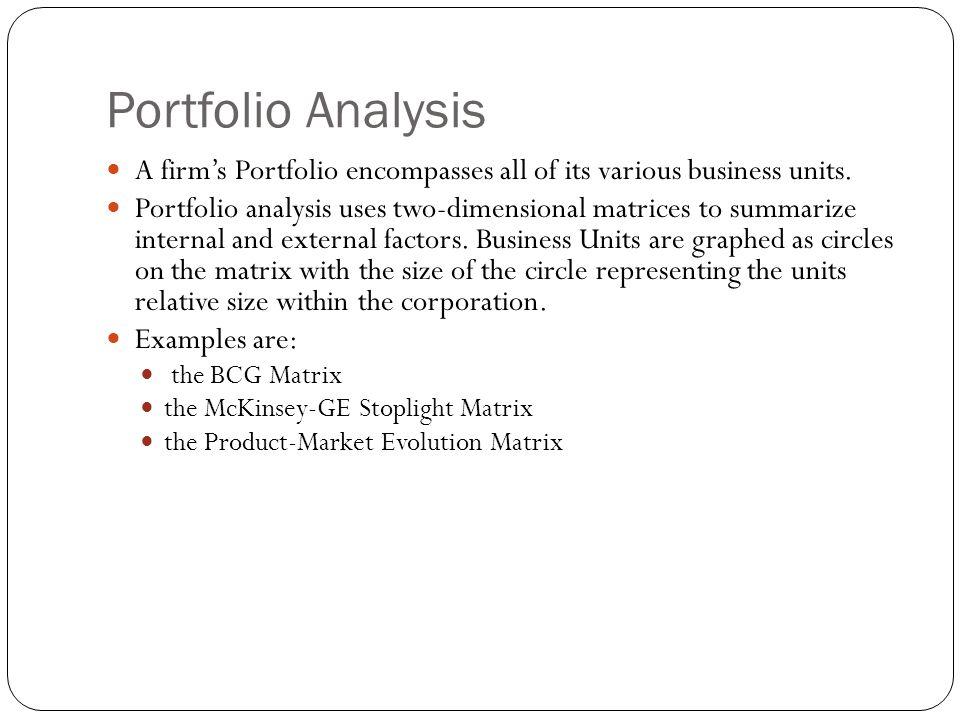 Portfolio Analysis A firm's Portfolio encompasses all of its various business units. Portfolio analysis uses two-dimensional matrices to summarize int