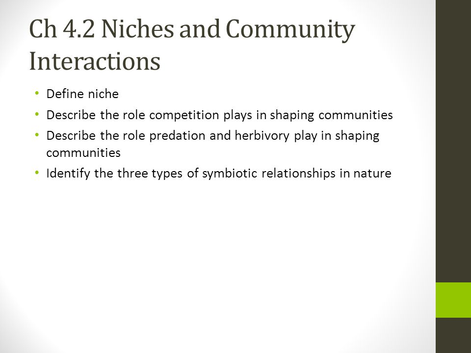 Ch 4.2 Niches and Community Interactions Define niche Describe the role competition plays in shaping communities Describe the role predation and herbi