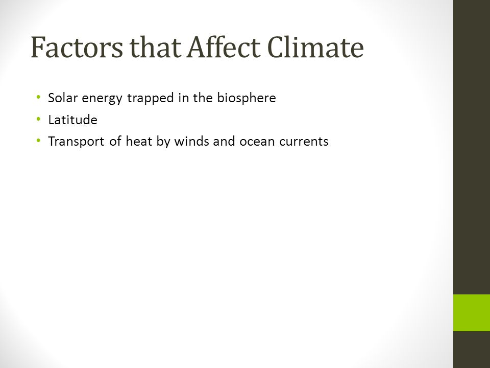 Factors that Affect Climate Solar energy trapped in the biosphere Latitude Transport of heat by winds and ocean currents