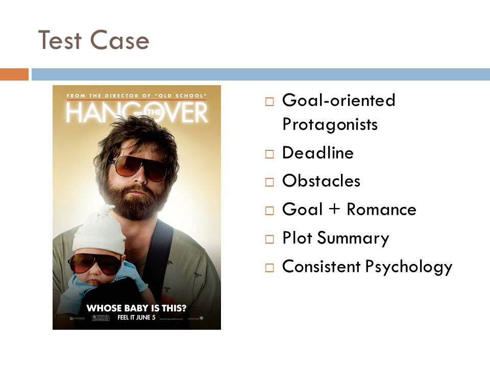 Test Case  Goal-oriented Protagonists  Deadline  Obstacles  Goal + Romance  Plot Summary  Consistent Psychology