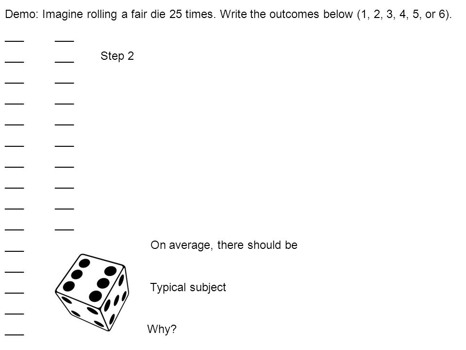 Demo: Imagine rolling a fair die 25 times. Write the outcomes below (1, 2, 3, 4, 5, or 6).