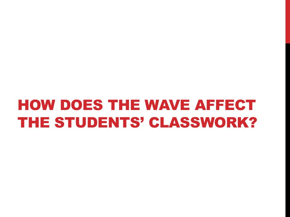 HOW DOES THE WAVE AFFECT THE STUDENTS' CLASSWORK?
