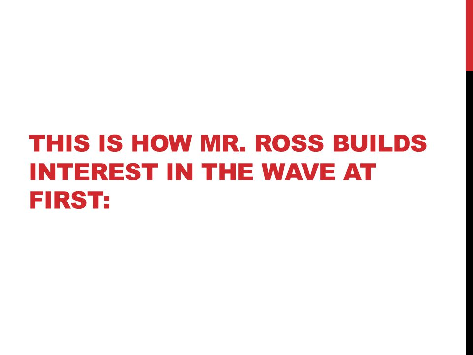 THIS IS HOW MR. ROSS BUILDS INTEREST IN THE WAVE AT FIRST: