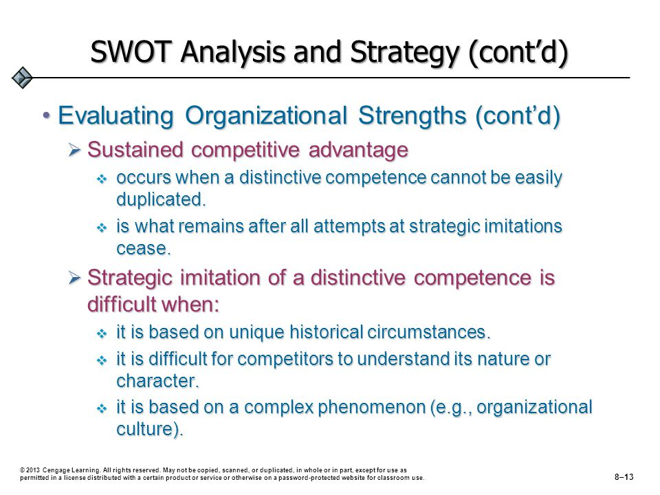 SWOT Analysis and Strategy (cont'd) Evaluating Organizational Strengths (cont'd)Evaluating Organizational Strengths (cont'd)  Sustained competitive advantage  occurs when a distinctive competence cannot be easily duplicated.