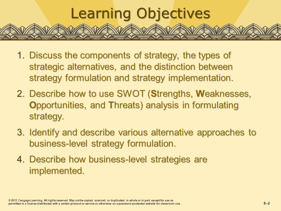 Learning Objectives 1.Discuss the components of strategy, the types of strategic alternatives, and the distinction between strategy formulation and strategy implementation.