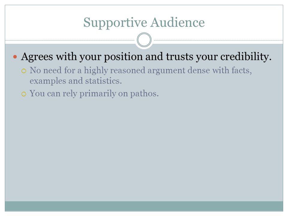 Supportive Audience Agrees with your position and trusts your credibility.