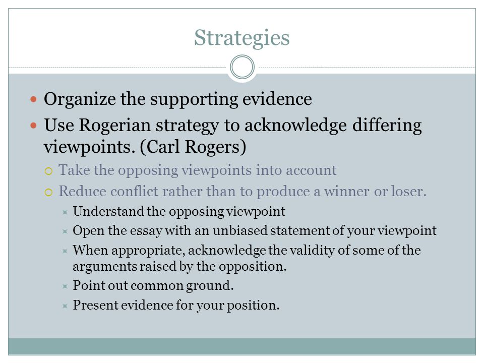 Strategies Organize the supporting evidence Use Rogerian strategy to acknowledge differing viewpoints.