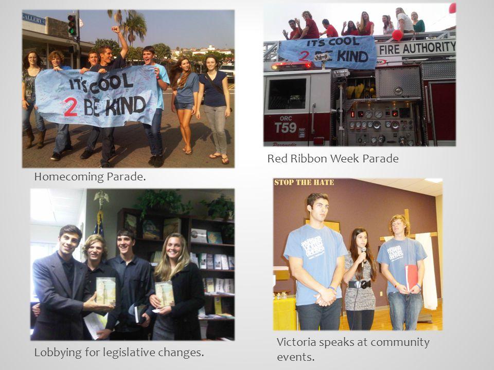Homecoming Parade. Red Ribbon Week Parade Lobbying for legislative changes.