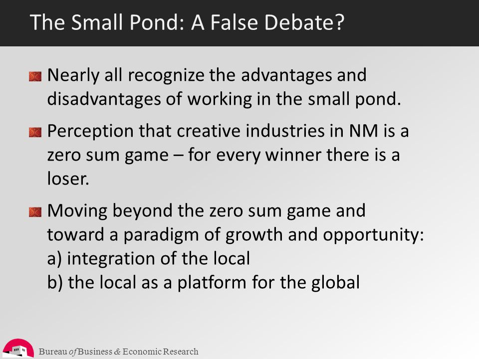 Bureau of Business & Economic Research The Small Pond: A False Debate? Nearly all recognize the advantages and disadvantages of working in the small p
