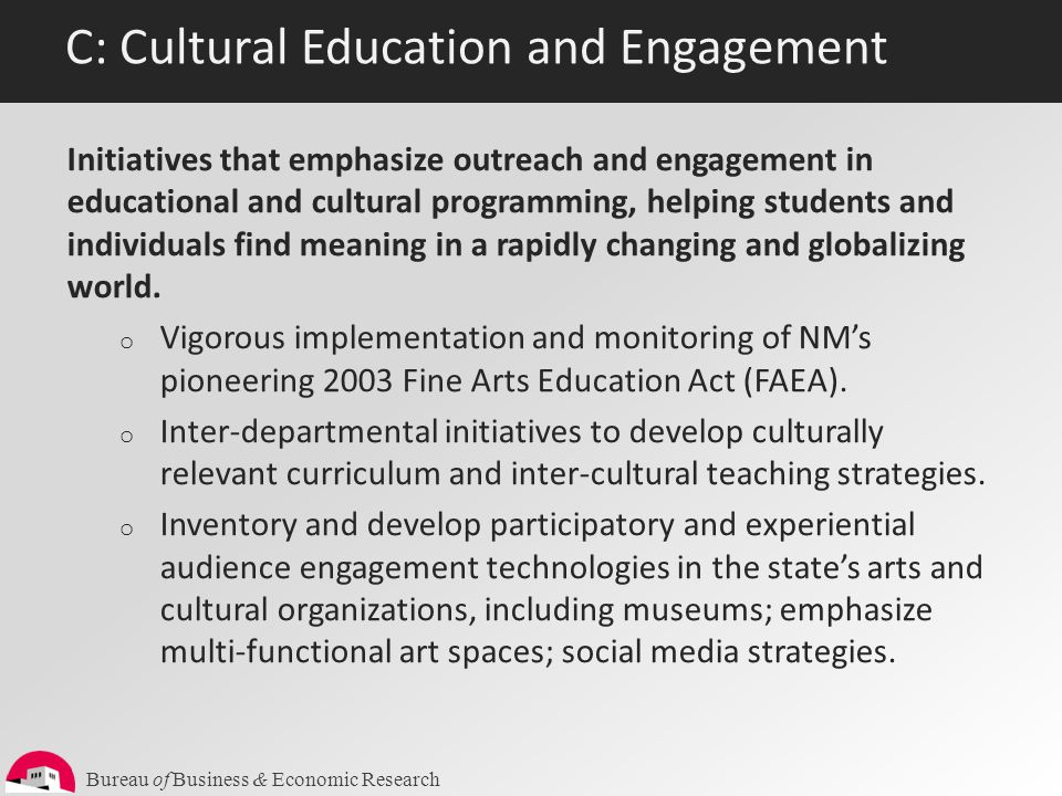 Bureau of Business & Economic Research C: Cultural Education and Engagement Initiatives that emphasize outreach and engagement in educational and cult