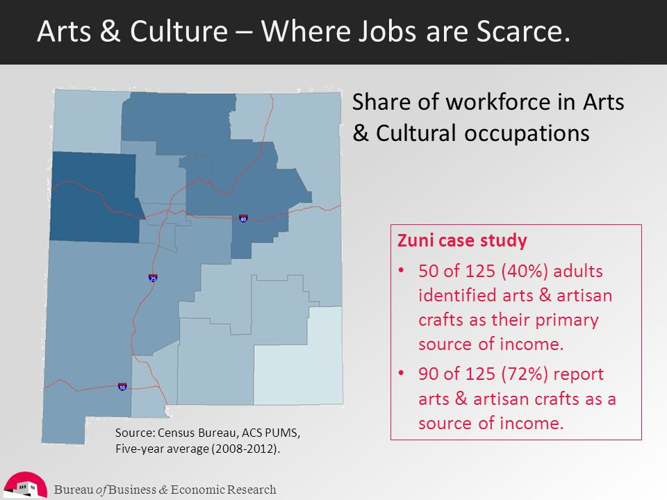 Bureau of Business & Economic Research Arts & Culture – Where Jobs are Scarce. Source: Census Bureau, ACS PUMS, Five-year average (2008-2012). Share o