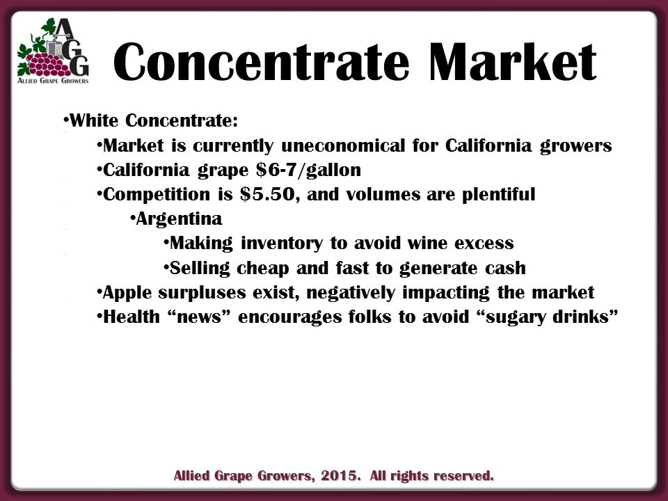 Allied Grape Growers, 2015. All rights reserved. White Concentrate: White Concentrate: Market is currently uneconomical for California growers Market