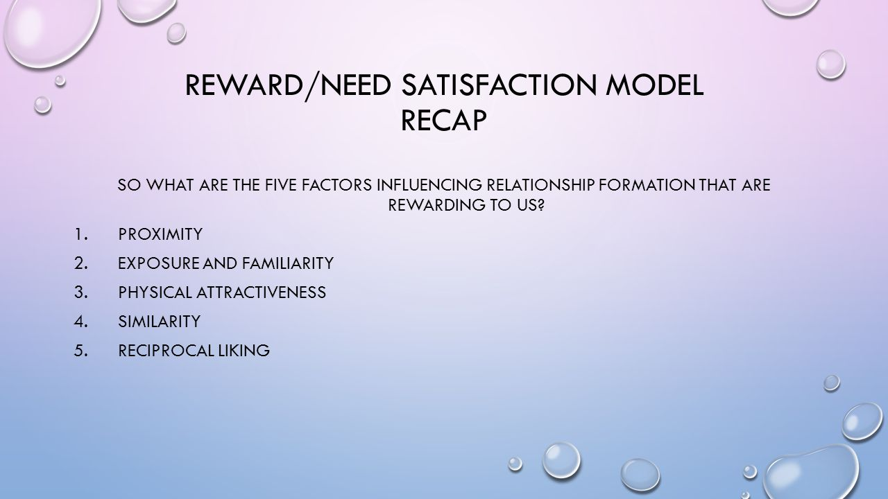NEED SATISFACTION (ARGYLE, 1994) THERE ARE SEVEN BASIC MOTIVES OR NEEDS, EACH OF WHICH CAN BE SATISFIED AT LEAST IN PART BY INTERPERSONAL RELATIONSHIPS : WHEN OUR NEEDS ARE SATISFIED IT IS REWARDING AND WE LEARN = FEELING GOOD BIOLOGICAL = EATING TOGETHER DEPENDENCY = BEING COMFORTED/NURTURED AFFILIATION = SEEKING COMPANY/APPROVAL DOMINANCE = ESTABLISHING SOCIAL ORDER SEX = REPRODUCTION AGGRESSION = INTERPERSONAL HOSTILITY SELF-ESTEEM = BEING VALUED BY OTHERS.