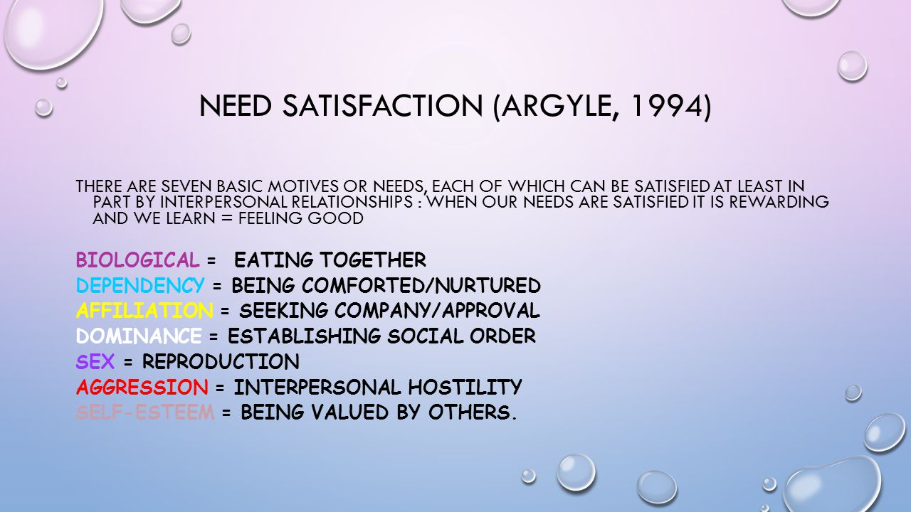 NEED SATISFACTION (ARGYLE, 1994) THERE ARE SEVEN BASIC MOTIVES OR NEEDS, EACH OF WHICH CAN BE SATISFIED AT LEAST IN PART BY INTERPERSONAL RELATIONSHIP
