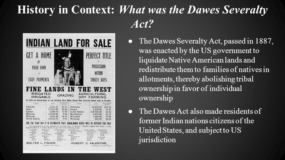 History in Context: What was the Dawes Severalty Act.