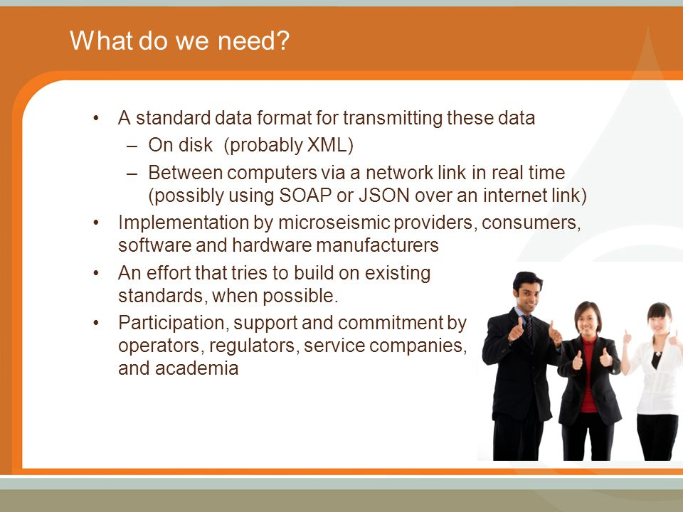 What do we need? A standard data format for transmitting these data –On disk (probably XML) –Between computers via a network link in real time (possib