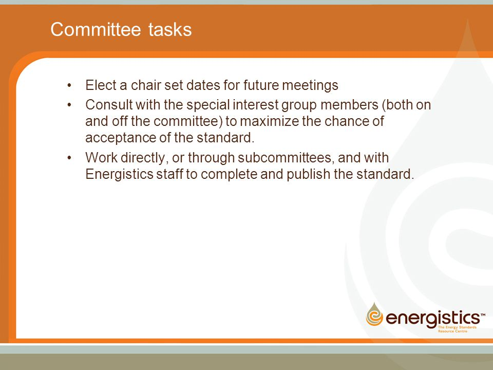Committee tasks Elect a chair set dates for future meetings Consult with the special interest group members (both on and off the committee) to maximize the chance of acceptance of the standard.