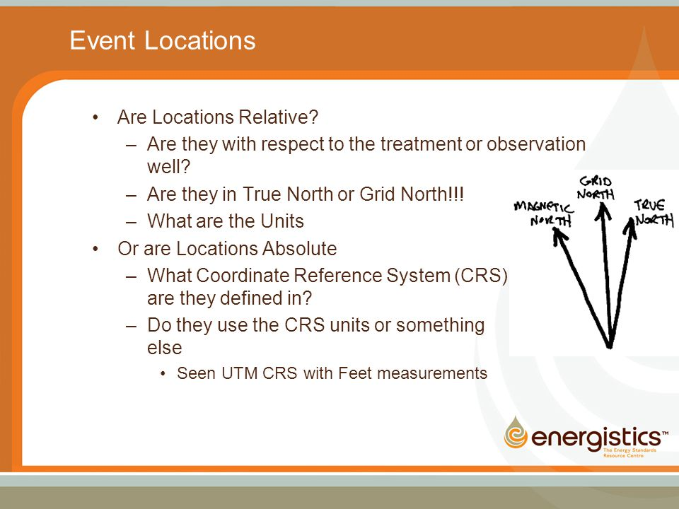Event Locations Are Locations Relative? –Are they with respect to the treatment or observation well? –Are they in True North or Grid North!!! –What ar