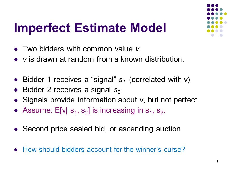 Imperfect Estimate Model Two bidders with common value v.
