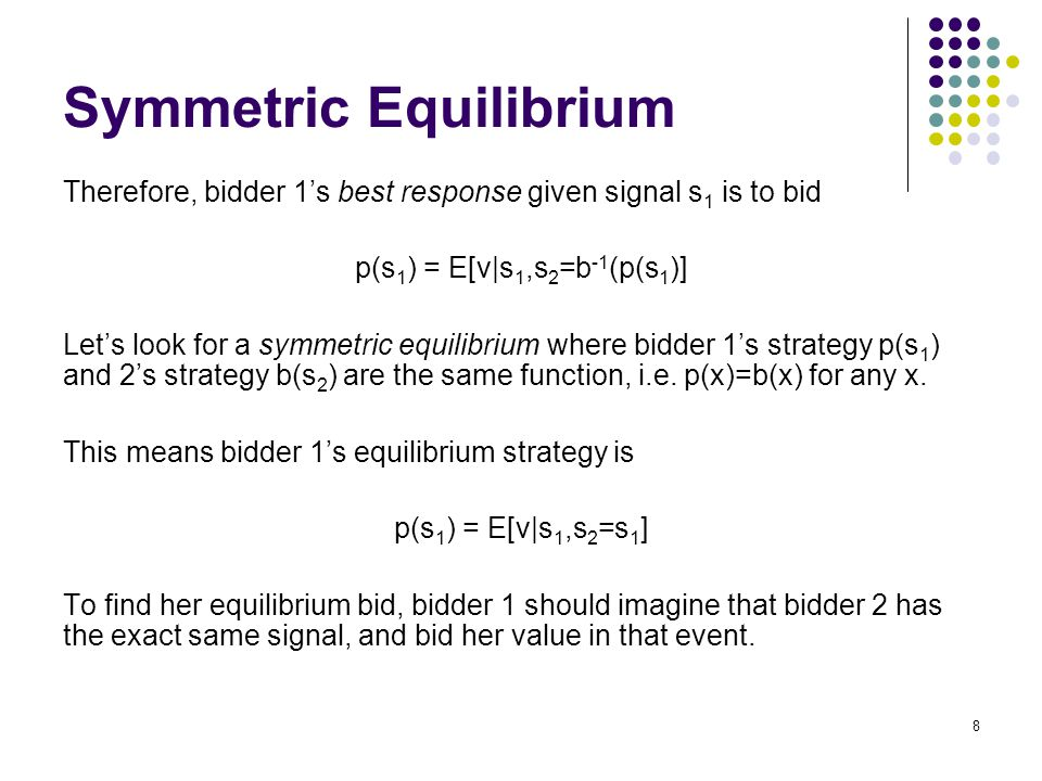 Symmetric Equilibrium Therefore, bidder 1's best response given signal s 1 is to bid p(s 1 ) = E[v|s 1,s 2 =b -1 (p(s 1 )] Let's look for a symmetric equilibrium where bidder 1's strategy p(s 1 ) and 2's strategy b(s 2 ) are the same function, i.e.