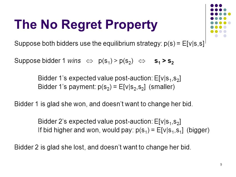The No Regret Property Suppose both bidders use the equilibrium strategy: p(s) = E[v|s,s] Suppose bidder 1 wins  p(s 1 ) > p(s 2 )  s 1 > s 2 Bidder 1's expected value post-auction: E[v|s 1,s 2 ] Bidder 1's payment: p(s 2 ) = E[v|s 2,s 2 ] (smaller) Bidder 1 is glad she won, and doesn't want to change her bid.