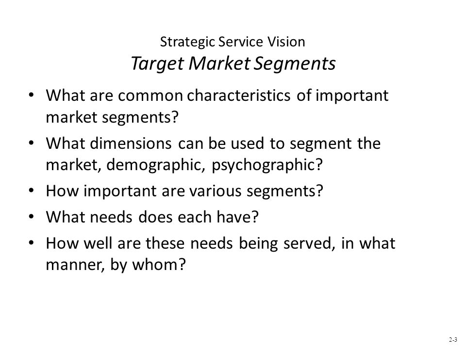 Strategic Service Vision Target Market Segments What are common characteristics of important market segments.