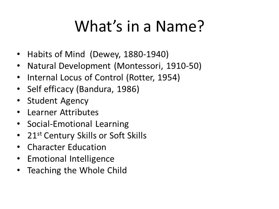 What's in a Name? Habits of Mind (Dewey, 1880-1940) Natural Development (Montessori, 1910-50) Internal Locus of Control (Rotter, 1954) Self efficacy (