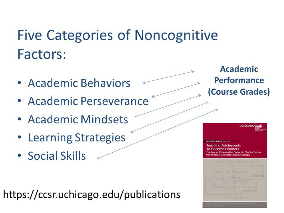 https://ccsr.uchicago.edu/publications Five Categories of Noncognitive Factors: Academic Behaviors Academic Perseverance Academic Mindsets Learning Strategies Social Skills Academic Performance (Course Grades)