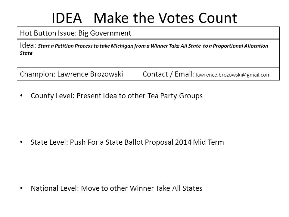 IDEA Make the Votes Count County Level: Present Idea to other Tea Party Groups State Level: Push For a State Ballot Proposal 2014 Mid Term National Level: Move to other Winner Take All States Idea: Start a Petition Process to take Michigan from a Winner Take All State to a Proportional Allocation State Hot Button Issue: Big Government Champion: Lawrence BrozowskiContact / Email: lawrence.brozowski@gmail.com