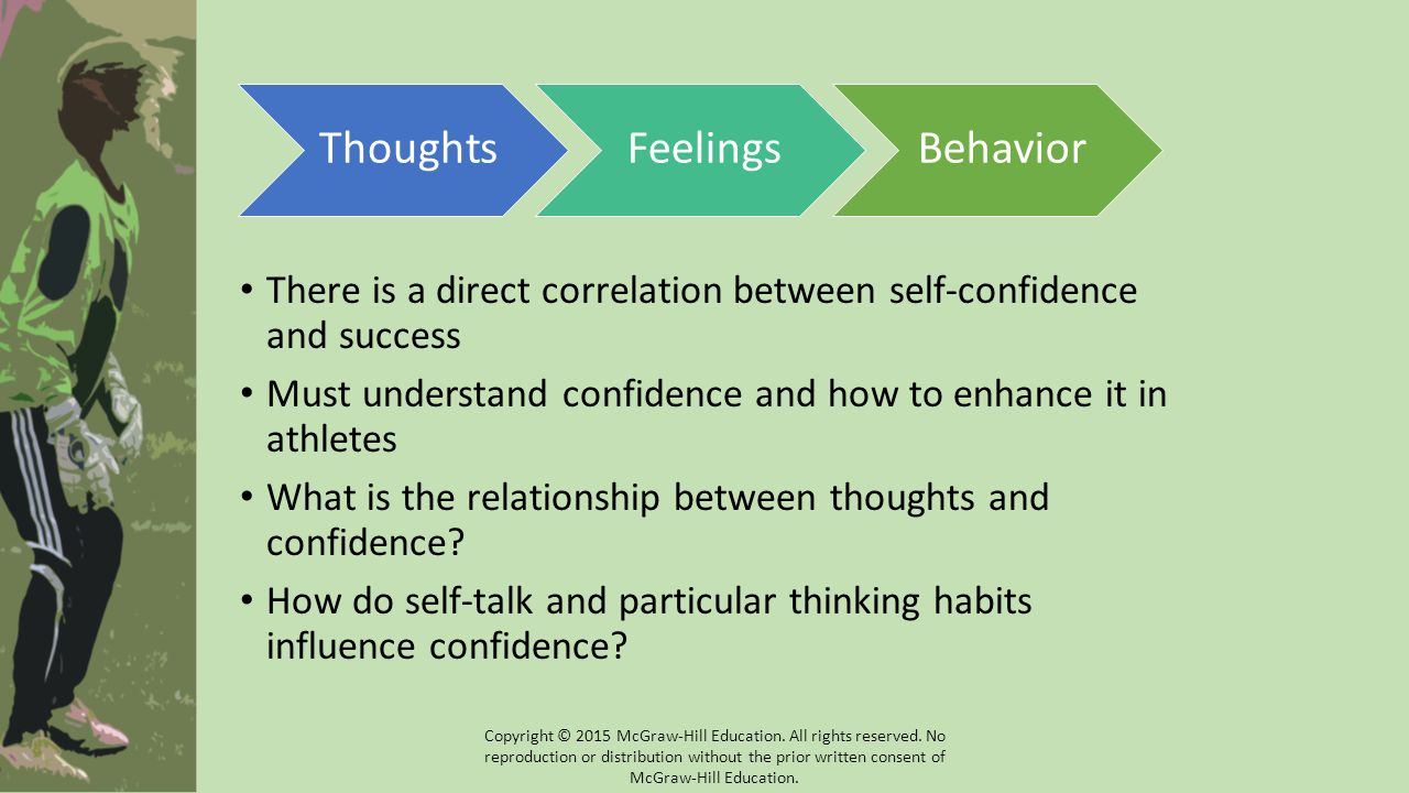 There is a direct correlation between self-confidence and success Must understand confidence and how to enhance it in athletes What is the relationshi
