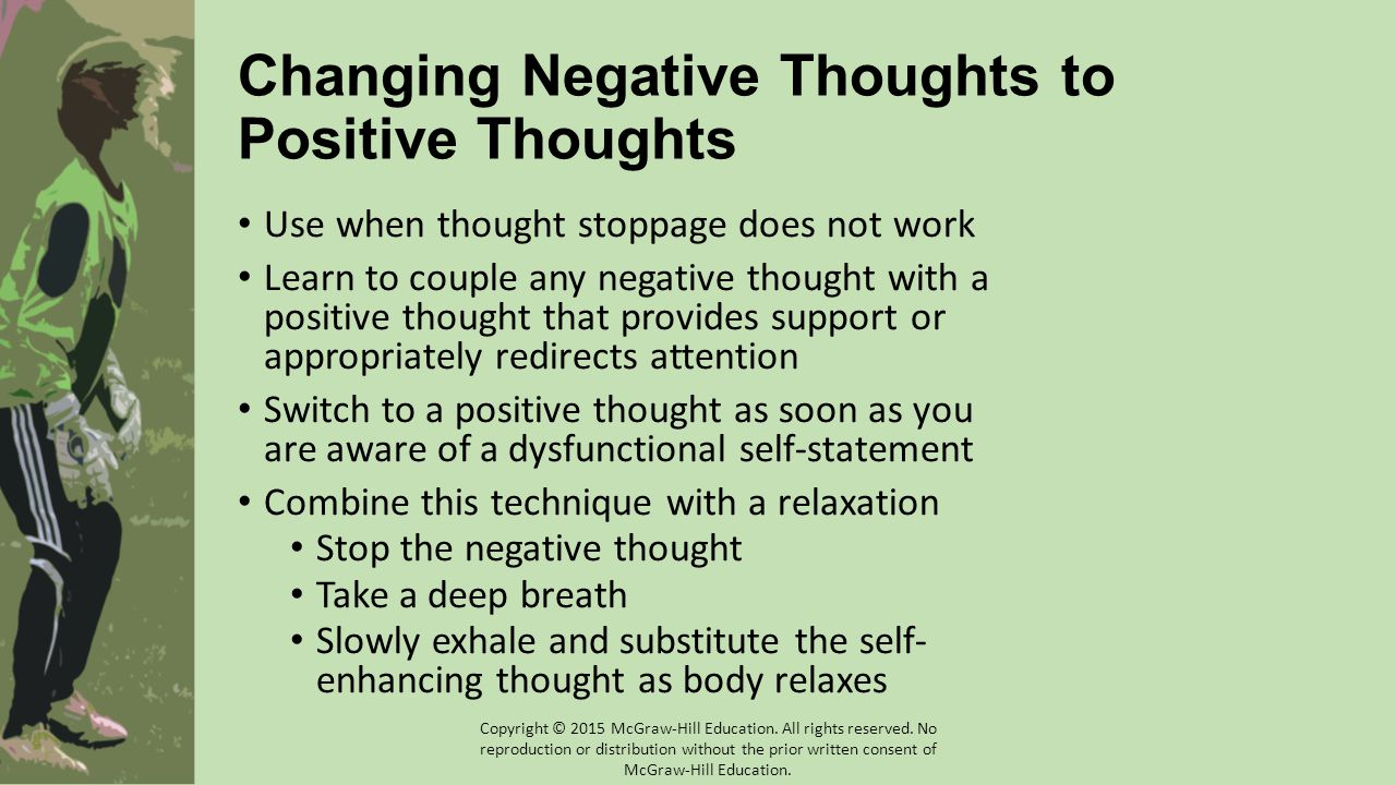 Changing Negative Thoughts to Positive Thoughts Use when thought stoppage does not work Learn to couple any negative thought with a positive thought that provides support or appropriately redirects attention Switch to a positive thought as soon as you are aware of a dysfunctional self-statement Combine this technique with a relaxation Stop the negative thought Take a deep breath Slowly exhale and substitute the self- enhancing thought as body relaxes Copyright © 2015 McGraw-Hill Education.