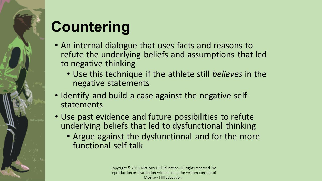 Countering An internal dialogue that uses facts and reasons to refute the underlying beliefs and assumptions that led to negative thinking Use this technique if the athlete still believes in the negative statements Identify and build a case against the negative self- statements Use past evidence and future possibilities to refute underlying beliefs that led to dysfunctional thinking Argue against the dysfunctional and for the more functional self-talk Copyright © 2015 McGraw-Hill Education.