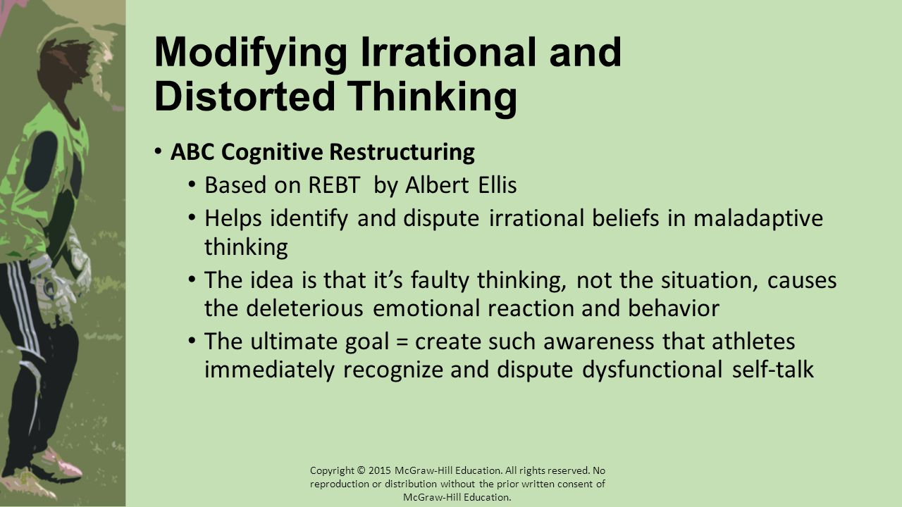 Modifying Irrational and Distorted Thinking ABC Cognitive Restructuring Based on REBT by Albert Ellis Helps identify and dispute irrational beliefs in