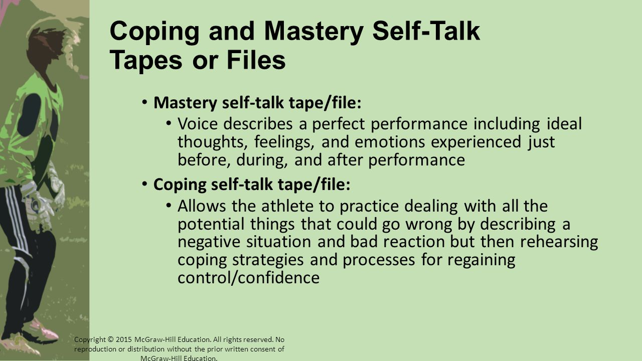 Coping and Mastery Self-Talk Tapes or Files Mastery self-talk tape/file: Voice describes a perfect performance including ideal thoughts, feelings, and emotions experienced just before, during, and after performance Coping self-talk tape/file: Allows the athlete to practice dealing with all the potential things that could go wrong by describing a negative situation and bad reaction but then rehearsing coping strategies and processes for regaining control/confidence Copyright © 2015 McGraw-Hill Education.
